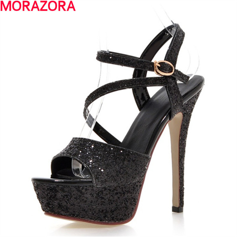 MORAZORA hot sale glitter +pu leather Super high heels shoes woman sexy lady summer buckle platform shoes party wedding sandals summer platform wedges party shoes for woman extreme high heels sexy wedding shoes woman comfort female shoes heel