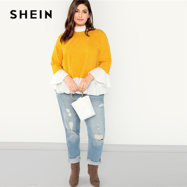 SHEIN Pearl Beaded Ruffle Stand Collar Butterfly Sleeve Ginger Plus Size Womens Blouse 2018 Patchwork Ruffle Hem Autumn Blouse 3