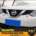 2016 модель стайлинга автомобилей для Nissan Qashqai высокое качество хром Передняя решетка отделка ABS украшения полоса 2 шт. Автомобильные Аксессуары