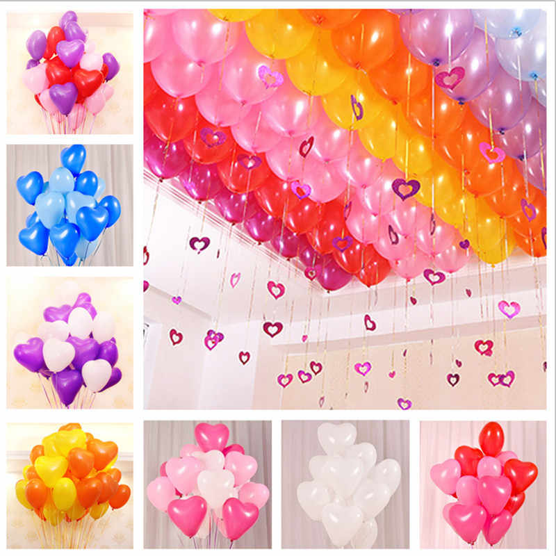 5pcs 10inch 2.2g Heart Balloon White Latex Balloon Inflatable Air Float Balls Children's Birthday Party Wedding Decorations Kids