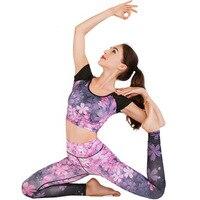 2019 hot yoga top yoga set printing sports running fitness dance new professional yoga clothing women gym set yoga leggings+Tops