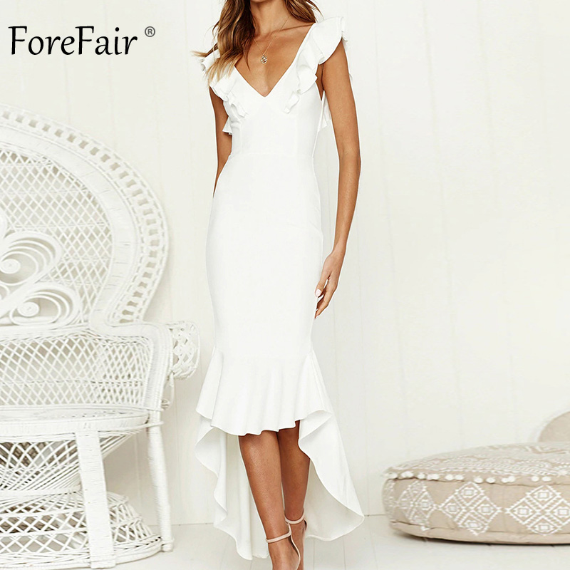 Forefair Summer Woman Backless Long <font><b>Club</b></font> <font><b>Dresses</b></font> Party <font><b>Night</b></font> Cross Back Irregular <font><b>Sexy</b></font> <font><b>Bodycon</b></font> V Neck Ruffle <font><b>Dress</b></font> <font><b>2018</b></font> image