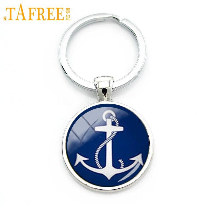 Tafree классический синий белый узор морской якорь Брелок очаровательный темно-синий тон простой Морской якорь Брелок Sailor подарок kc519