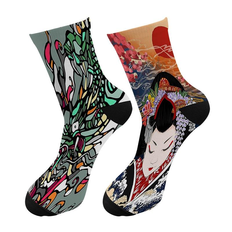 New Harajuku 3D Printed Japanese Ukiyo-e Painting Crew Socks Men Funny Crane Crane Painting Long Socks Men's Dress Tube Socks
