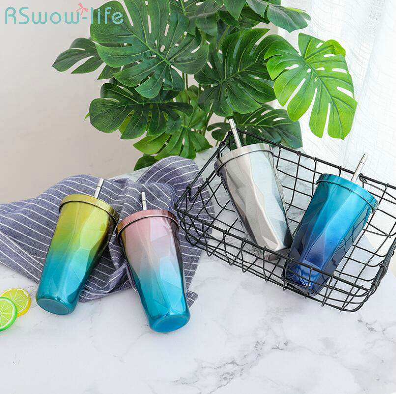 Gradient Color Stainless Steel Creative Large-capacity Straw Cup Mens and Womens Office Gifts