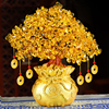 LUCKY Fortune Wealth Chinese Golden Crystal Lucky Money Fortune Tree Home Office Decoration Best Gifts Tabletop Ornament Crafts 3