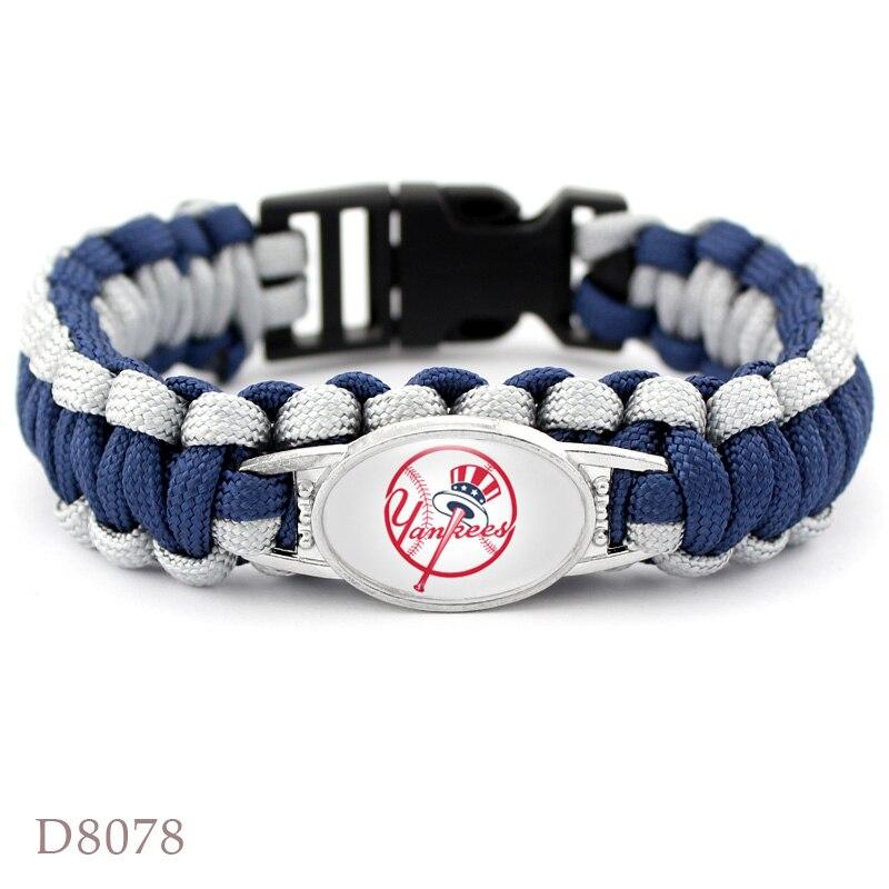 10 PCS Baseball Team NY Yankees Bracelet Sport Team Umbrella Braided Bracelet For Fans Gift Jewelry
