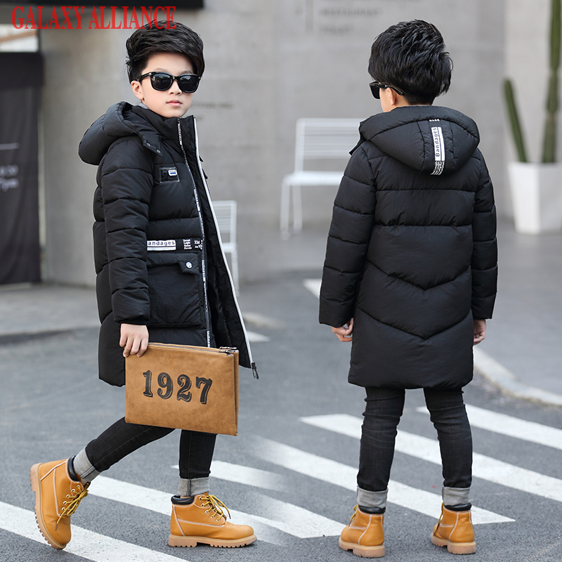 New Arrival 2017 Boys winter warm padded coats thicker big boy fashion long down coat kids hooded winter jacket boutique brand 2017 winter women jacket new fashion thick warm medium long down cotton coat long sleeve slim big yards female parkas ladies269