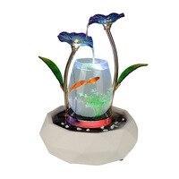 Креативная керамика + стекло + металлическая рыба танк коробка фэн шуй украшения приносящий удачу стол аквариум гостиная украшения дома акс
