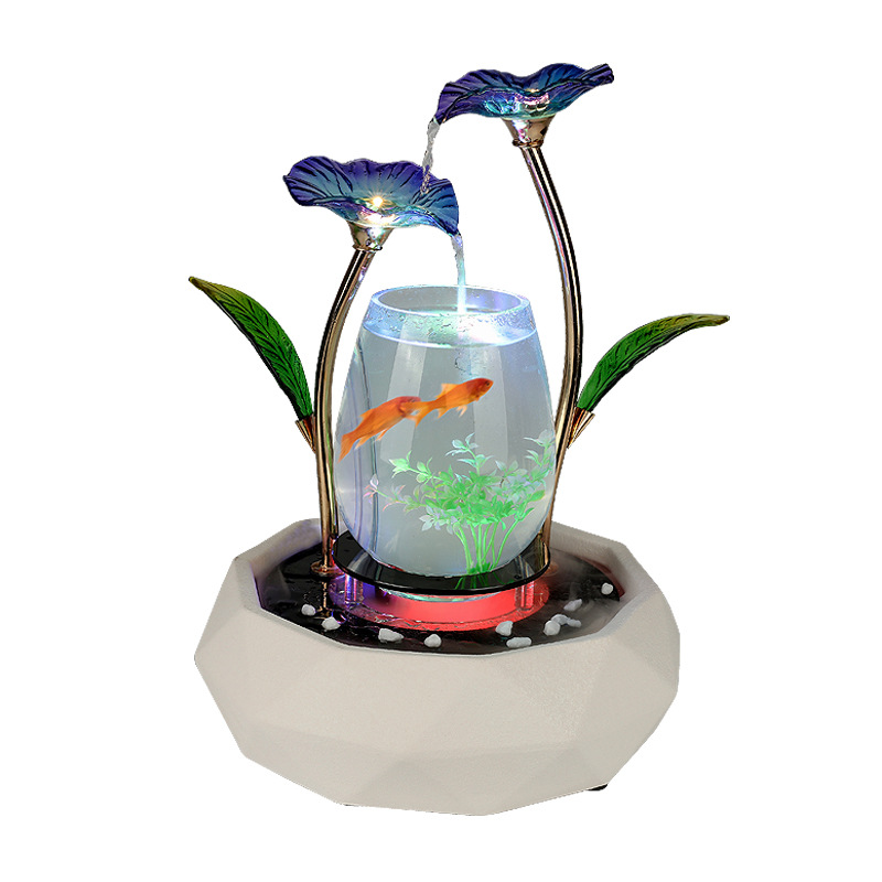 Creative céramique + verre + métal réservoir de poisson boîte Fengshui ornements apporter Table chanceux Aquarium salon accessoires de décoration de la maison