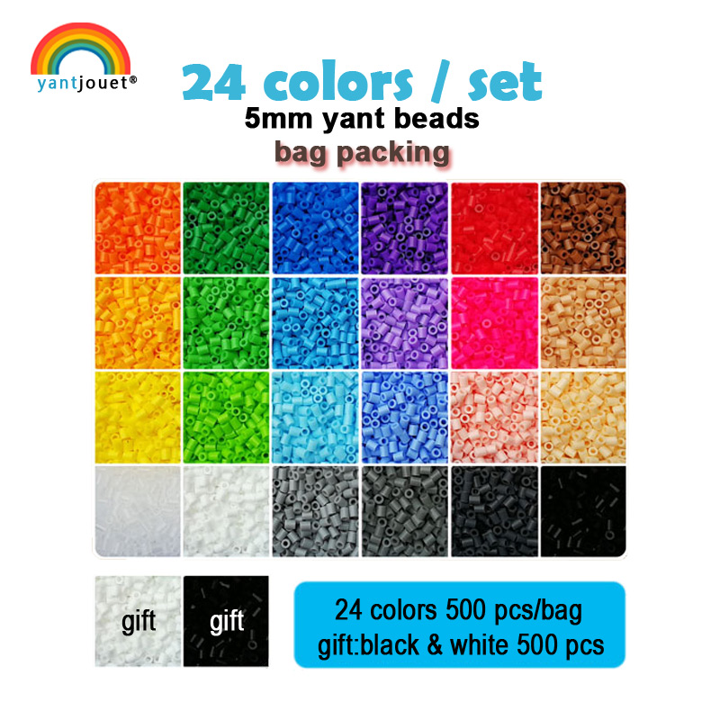 Yantjouet 5mm Yant Beads 24 Color/set Black White For Kid Hama Perler Bead Diy Puzzles High Quality Handmade Gift Children Toy