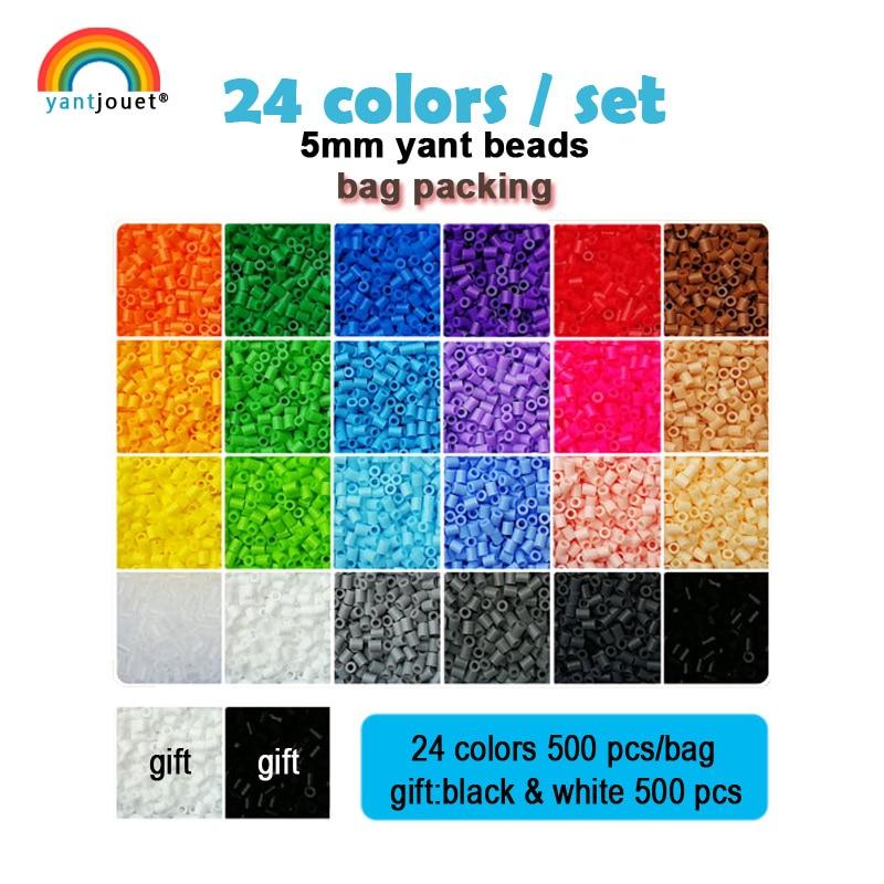 Yantjouet 5mm Yant Beads 24 color/set Black White for Kid Hama Perler Bead Diy Puzzles High Quality Handmade Gift children Toy