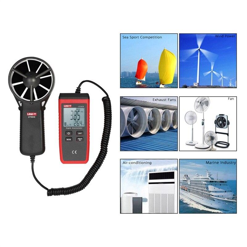 UNI-T UT363S numérique Portable vitesse du vent Air Volume compteur de mesure anémomètre 30 m/s LCD tachymètre électronique avec rétro-éclairage