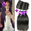 Brazilian Straight Hair With Closure 360 Frontal With Bundle Mink Brazilian Hair With Closure Brazilian Virgin Hair With Frontal