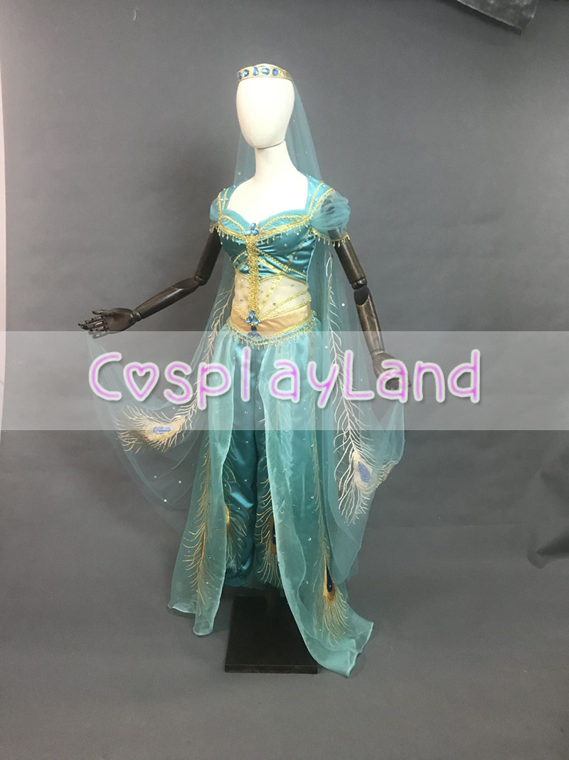Princess Jasmine Costume Sexy Dress Halloween Cosplay Aladdin Jasmine Outfit Peacock Embroidery Belly Dance Dress Suit Crown in Movie TV costumes from Novelty Special Use
