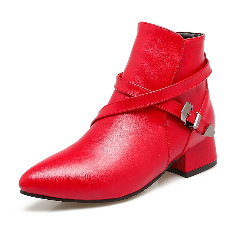 Tobillo 2018 Nueva Moda Mujer De Hebilla Cuadrado red green 34 Mujeres Pu Cr496 Botas Zapatos Tamaño Gran yellow Punta Correa Tacón Enmayer 43 Black df4IxI
