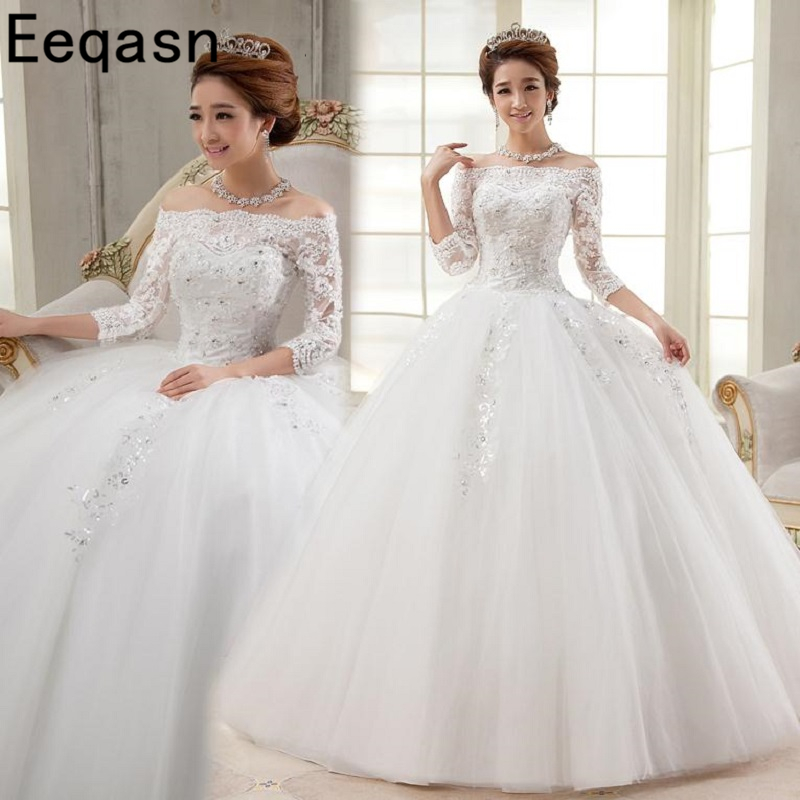 New Arrival Real Photo Wedding Dresses Cheap Ivory 3/4 Sleeves Ball Gown Applique Lace Bride Dress Vestidos De Novia