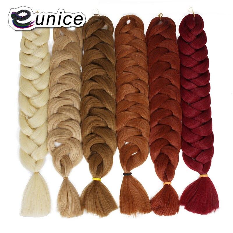 Eunice Volume Do Cabelo de Crochê de Cabelo Sintético para Trançar Africano 82 polegada 165g Pure Cor Extensões de Cabelo Tranças Jumbo
