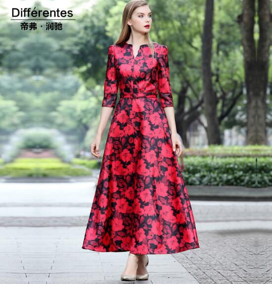 Outwear Trench-Coat Print Slim Long Women's V-Neck Floral Red Wavy-Edge Europe-Style