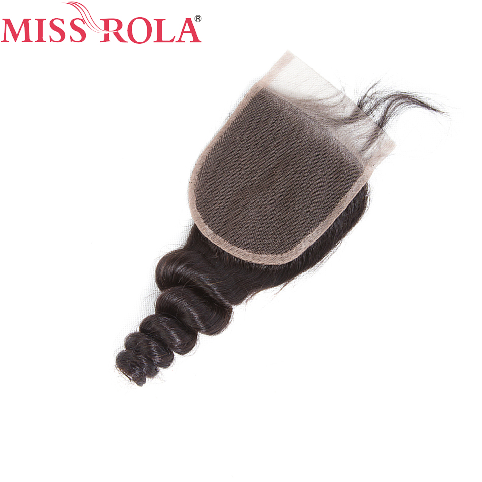 Miss Rola 4x4 Loose Wave Pre Plucked Lace Closure with Baby Hair Bleached Knots 100 % Non-Remy Brazilian Human Hair Weave