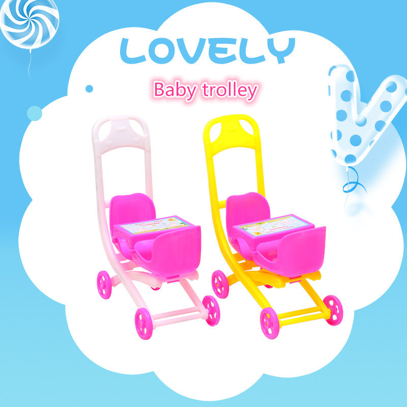 Assembly Baby Infant Doll House Accessories Carriage Stroller Trolley Nursery Toy For Doll Mini Dolls Simulation Pram Pushchair