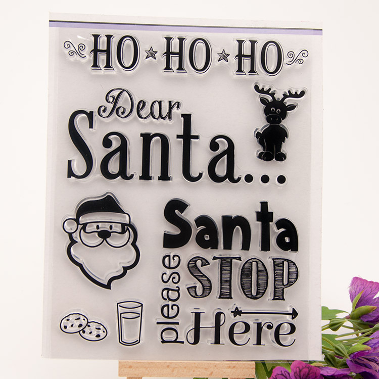 Scrapbook DIY photo cards account rubber stamp clear stamp transparent stamp HO HO Dear Santa please STOP Here 14x18cm SD296 scrapbook diy photo cards account rubber stamp clear stamp finished transparent chapter wall decoration 15 18
