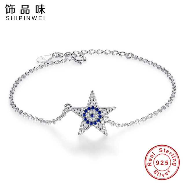 Shipinwei 925 sterling silver star blue evil eye bracelets bangles for women original fashion lady gift jewelry pulseras mujer in chain link shipinwei 925 sterling silver star blue evil eye bracelets bangles for women original fashion lady mozeypictures Choice Image