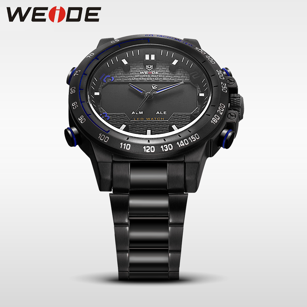 WEIDE genuine watches mens watches brand luxury sport waterproof watch quartz automatic analog black  watch military alarm clock weide casual genuine luxury brand quartz sport relogio digital masculino watch stainless steel analog men automatic alarm clock