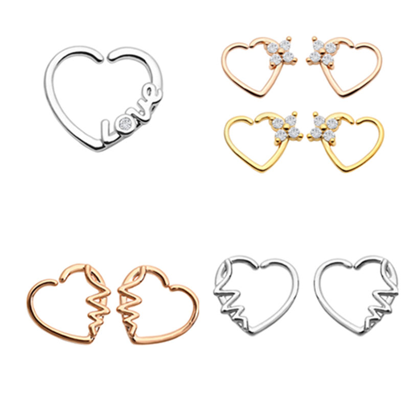 50pcs Body Jewelry Piercing CZ Heart Nose Hoop Ring Ear Helix Daith Cartilage Tragus Earring Nose