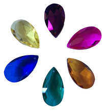 200 unids/lote 38mm colores mezclados piezas de prisma de cristal colgante de iluminación recortada envío gratis