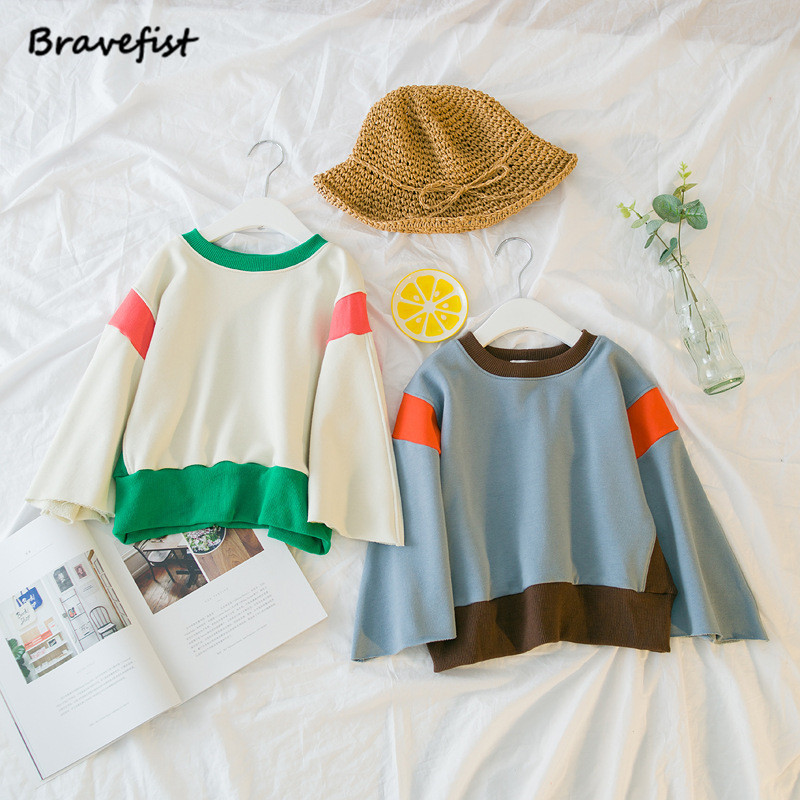Korean Baby Boys Girls Sweatshirt Patchwork 2018 Brand Children Spring Long Sleeve Tops Clothes Fashion Kids Hoodies For Infant
