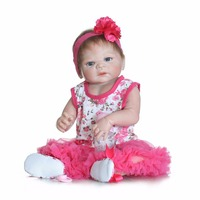 22 Inch Full Body Silicone Reborn babies hand rooted Mohair Realistic Baby Doll Handmade Baby Girl Doll Gifts For Kids bonecas
