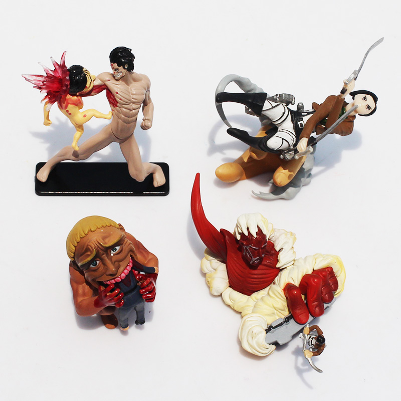 4pcs/lot Anime Attack on Titan Shingeki no Kyojin Eren Jaeger Colossal Titan Mini PVC Action Figure Collectible Model Toy