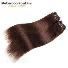 Rebecca 4 Bundles 190 gr/paket Brasilianische Gerade Haarwebart Schwarz Braun Rot Menschliches Haar 6 Farben #1 # 1B #2 #4 # 99J # Burgund