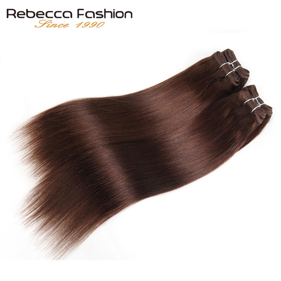 Rebecca-mechones de pelo liso brasileño tejido, 4 mechones, 190g, negro, marrón, rojo, cabello humano en 6 colores #1 # 1B #2 #4 # 99J # Burgundy
