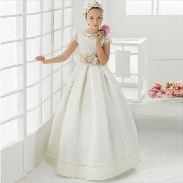 1ca60ddc1 Latest Collection Ball Satin Handmade Flower Big Girls Dress Scoop Neck  Little Queen Birthday Party Gown
