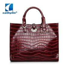 4107ac31c9 Cathylin 2018 Mode Femmes Sacs À Main Lager Seau Vintage Dames Casual Pu En  Cuir Crocodile Motif Dame Messenger Sac KS1B1780