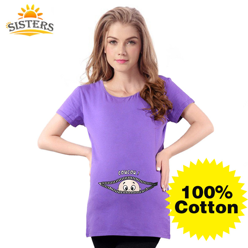 La maternidad del verano divertido del bebé que mira a escondidas las camisetas las mujeres embarazadas rojas rojas rematan las camisetas 100% ropa del embarazo ropa del embarazo