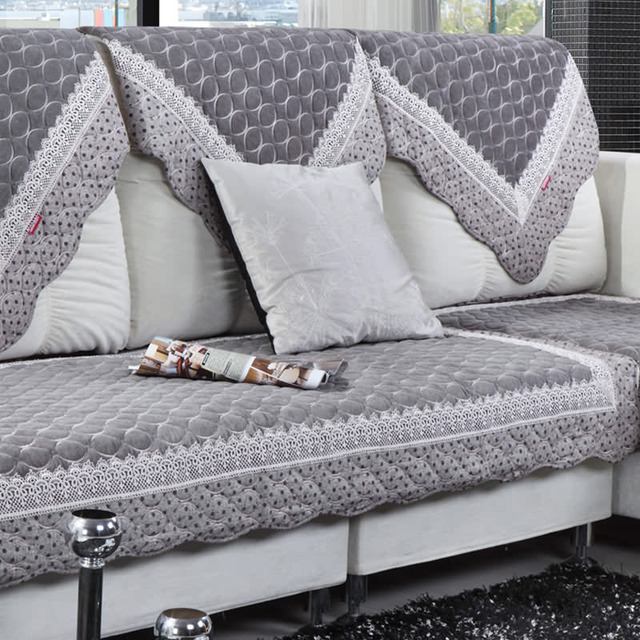 sofa gray color convertible bed 5 position embroidered lace covers pearl velvet couch cover towel europe cushion leather protective case