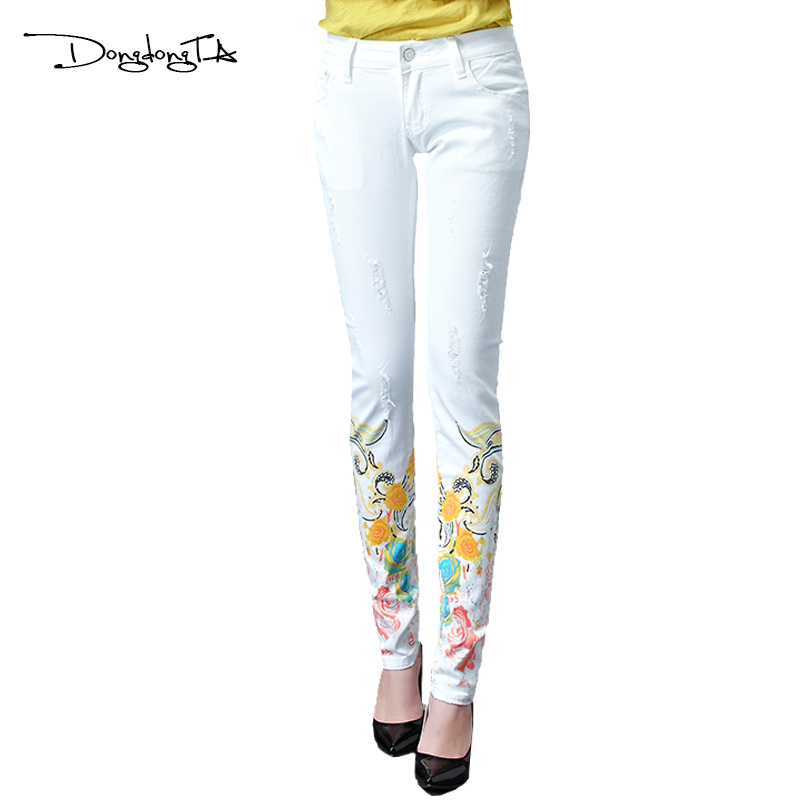 Dongdongta Women Girls White Color Jeans 2017 Ny design Sommar - Damkläder
