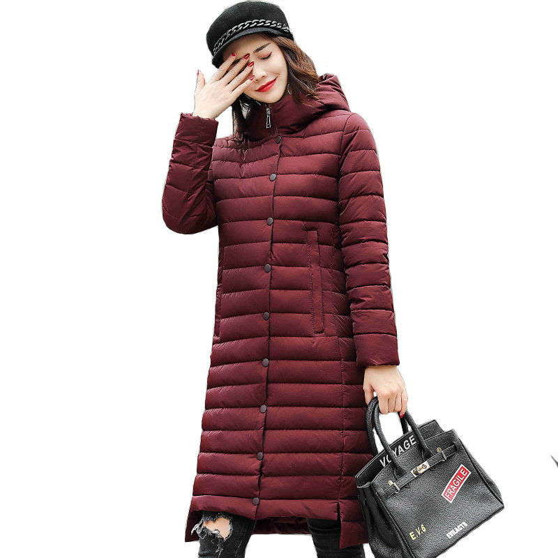 Hooded Breasted Buttons Winter Jacket Women Long Cotton Padded Coat Parkas Parka Outwear For Womens Chaqueta Mujer