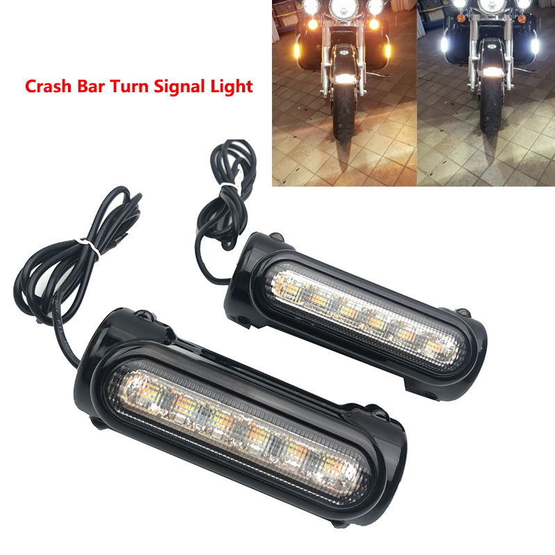 For Crash Bars Harley Motorcycle Touring Bikes Motorcycle Highway Bar Switchback Driving Light White turn Amber
