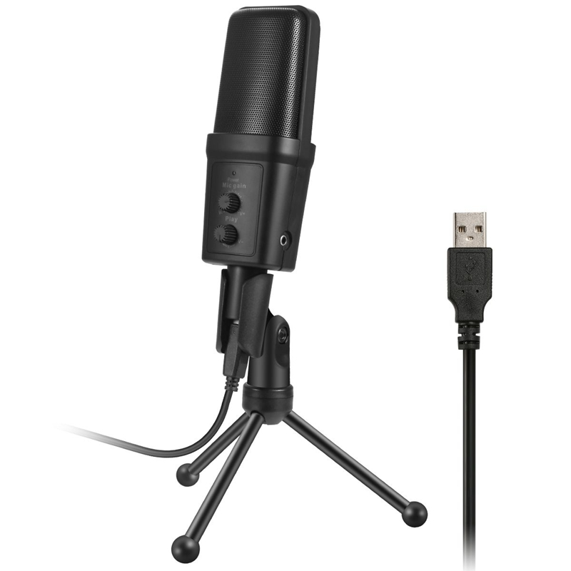 SF-970 Wired Microphone USB Condenser Sound Recording Mic With Stand For Chatting Singing Karaoke Laptop Skype