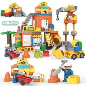 Image 1 - Big Size Stad Bouw Diy Graafmachine Voertuigen Bulldoze Robot Cijfers Bouwstenen Compatibel Duploed Baksteen Kinderen Speelgoed Gift