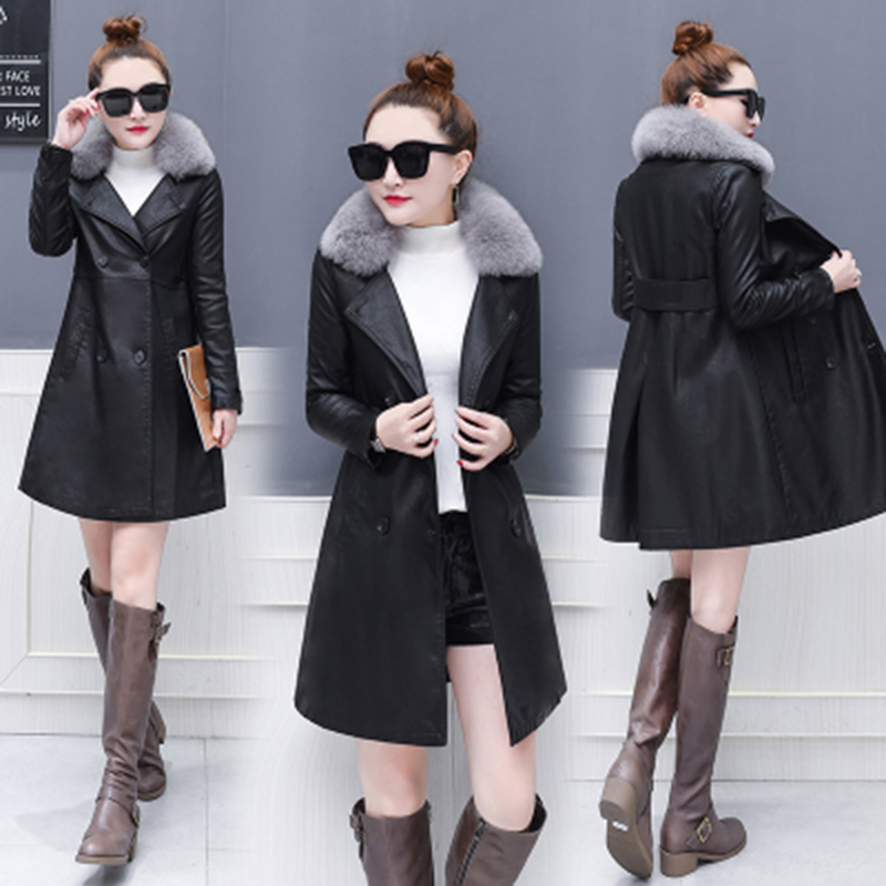 Leather   &   Suede   Autumn Winter Medium length Women 2019 New Casual Solid color Long-sleeved Large size Female   Leather   Coat NUW73