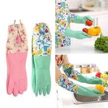 1 Pair Household Glove Dishwashing Cleaning Rubber Durable Waterproof Random Pattern