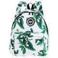 Summer Style Girl Leaf Flower Print Canvas Letter Ladder Lock Zipper Portable Backpack School Bags For Teenagers Girls