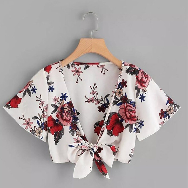 Women's Ladies Print Sexy Short Sleeve Bandage Hollow Shirt Pullover Tops