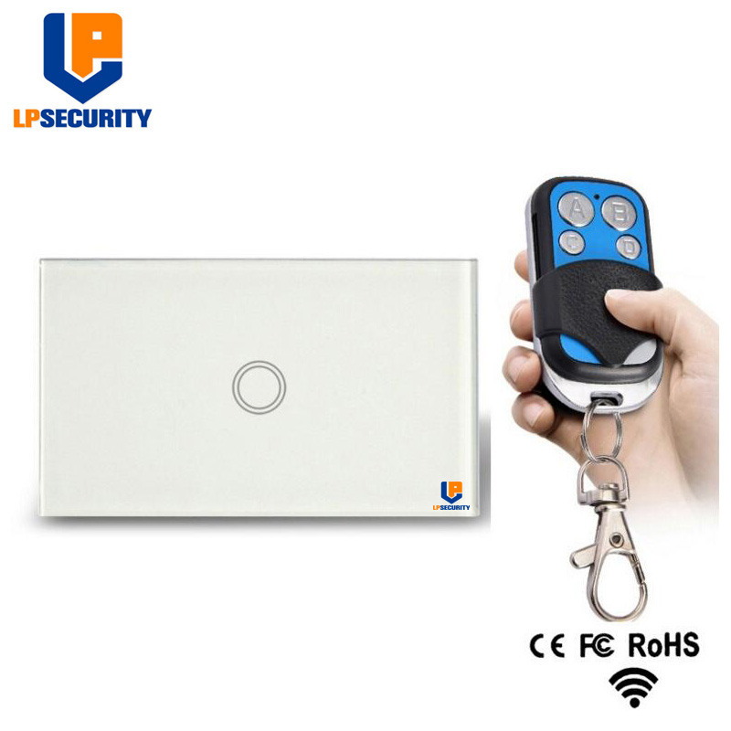 LPSECURITY US Remote Control Switch 1 Gang RF433 Smart Wireless Remote Control Touch Light Switch With White / Black Case