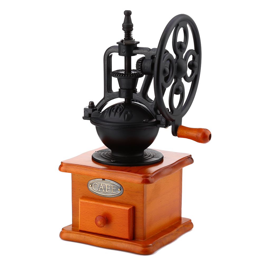 Retro Style Coffee Grinder Hand Grinding Machine Coffee Mills Hand-crank Roller with Ceramic Iron Burr Core and Wooden Drawer